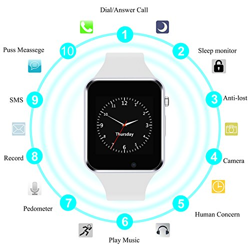 Smart Watch Bluetooth smartwatch with Camera Music Player for IOS iPhone, Android Samsung HTC Sony LG Huawei Smartphones (White)
