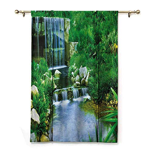 Homrkey Half Shaded Roman Curtains: Nature Waterfall Flowing Down The Rocks Foliage Cascade in Forest Valley Image Decor Curtains by W36 xL72 Fern Green Light Blue