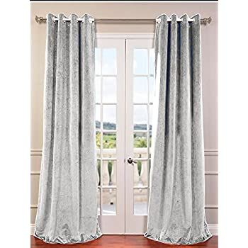 cynthia rowley silver grey vintage velvet pair window curtain panels 96 inch long. Black Bedroom Furniture Sets. Home Design Ideas