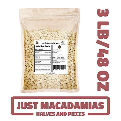 Just Macadamias 3 LB BULK, RAW, HEALTHY, MACADAMIA NUTS (Halves and Pieces, 48 OZ) (KOSHER CERTIFIED)