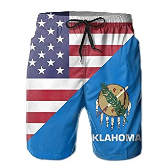 YINGWANG America Oklahoma State Flag Mens Swim Trunks Beach Shorts Board Shorts with Pockets