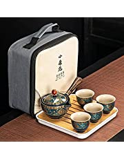 Chinese Tea Set Traditional Ceramic Flower Exquisite with Tray Wooden Handle Side-Handle Pot Cup Ceramic Teapot Portable Wedding Travel Lead Free Purple Clay Strainer Lids Infuser for Adults