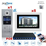 Cheap Jeatone 7″ TFT Color Display Wireless Video Door Phone Intercom Doorbell Home Security 1-Camera 5-Monitor + 8 Ports POE Switch