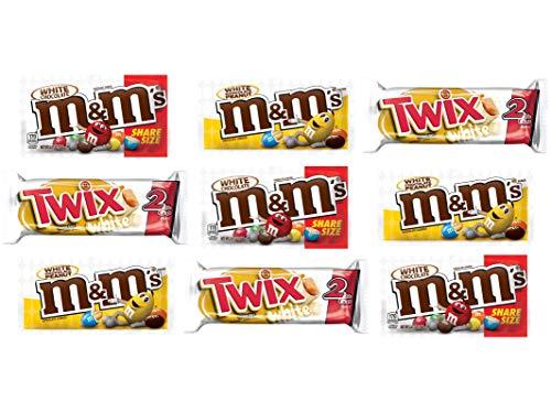 Assorted Mars White Chocolate Lovers Sharing Size Bundle of M&M's, Twix, M&M's Peanut 9 Pack (3 of EA)