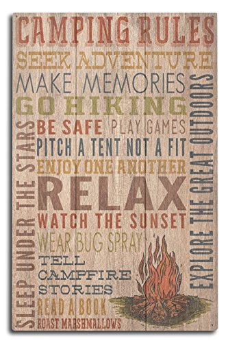 Lantern Press Camping Rules - Rustic Typography (10x15 Wood Wall Sign, Wall Decor Ready to Hang)