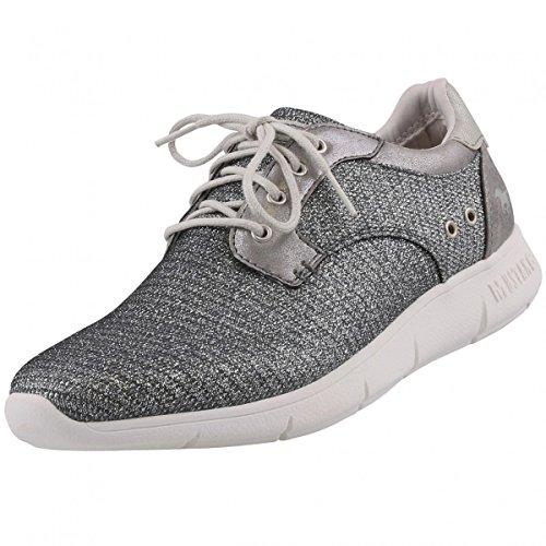 Mustang Damen Sneakers Silber/Grau (Metallic), Schuhgröße:EUR 39