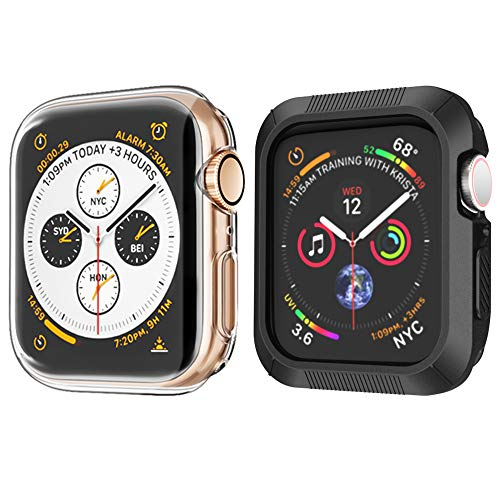 (2 Pack) XICHENK Compatible with Apple Watch Screen Protector 44mm Series 4 , Soft Clear TPU Full Screen Protector Cover and Black Bumper Case Replacement for Apple Watch Case 44mm Series 4
