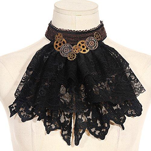 HappyStory Jabot Streampunk Necktie Collar (Black)]()