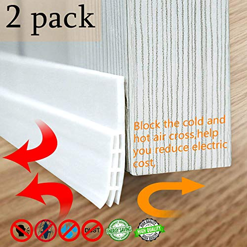 MAVGV 2 pcs Door Draft Stopper Under Door Sweep Weather Stripping Noise Stopper Rubber Weather Stripping Door Bottom Seal for Home Commercial Exterior Storm(White 2
