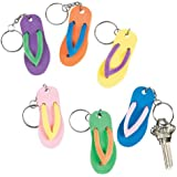 12 Luau Flip Flop Sandal Key Chains - Bulk Pack 12
