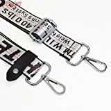 """M-W 1-3/8 Wide 28""""-49"""" Adjustable Length Handbag Purse Strap Nylon Replacement Strap Crossbody Strap, With 2Pcs Metal Buckles (White Strap+Silver Buckles)"""
