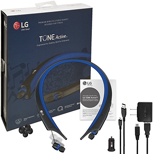LG TONE Active Bluetooth Wireless Headset HBS-A80 BlueHD Sound - Water & Sweat Resistan with LG Wall & Car Charger (US Retail Packing)