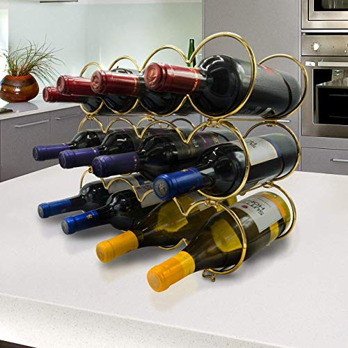 Sorbus 3-Tier Stackable Wine Rack - Round Classic Style Wine Racks for Bottles - Perfect for Bar, Wine Cellar, Basement, Cabinet, Pantry, etc - Hold 12 Bottles, Metal (Round Gold) by Sorbus (Image #4)