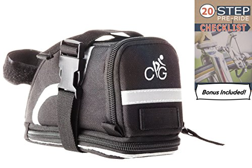 Saddle Bag/Bike Bag | Straps to Your Seat with EASE | MEDIUM Size Bicycle Bag with 2 Straps to Conveniently Store