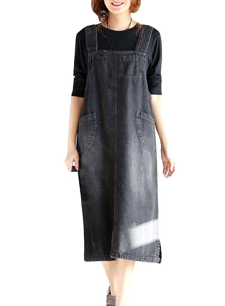 Damen Lose Latzkleid Elegante Midi Jeanskleider Jeansrock