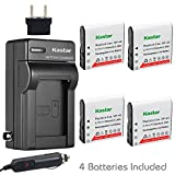 Kastar CNP-40 Battery (4-Pack) and Charger Kit for Kodak LB-060 AZ521 AZ361 AZ501 AZ522 AZ362 AZ526 and HP D3500 SKL-60 V5060H V5061U Cameras