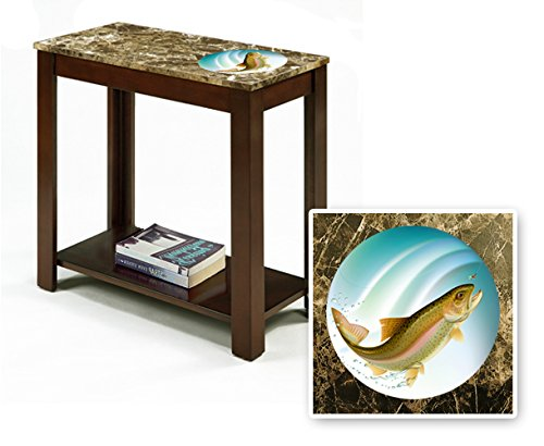 New Rectangular Top Espresso / Cappuccino Finish Night Stand End Table with Faux Marble Table Top featuring Trout Fish Theme