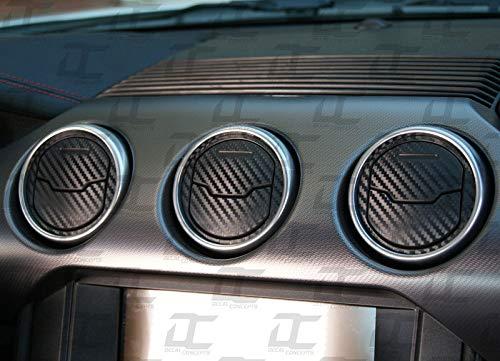Decal Concepts Interior Carbon Fiber AC Vent Accent Decal Kit (Fits Mustang 2015-2019) (Black Carbon Fiber)