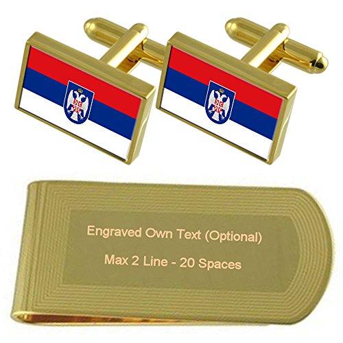 Engraved Gold Republika Srpska Clip Money Gift Cufflinks tone Set Flag Enr6Pnq0