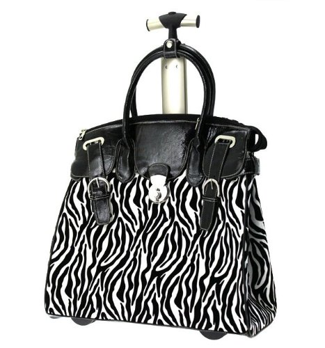 Ladies Zebra Black and White Rolling Laptop Carryall, Bags Central
