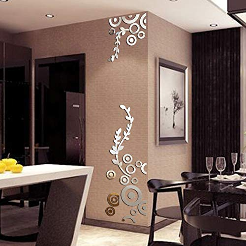 Iusun 3D Wall Sticker Removable Mirror Circle Ring DIY Self-adhesive Wall Decal Wall Paper Decoration for Room Home Nursery Bedroom Office Supplies Gift - Ship From USA (Silver)