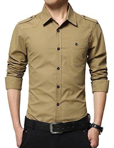Shirts Khaki Military (XTAPAN Men's Long Sleeve Casual Slim Fit Button Down Dress Shirt Khaki 2XL 6618)
