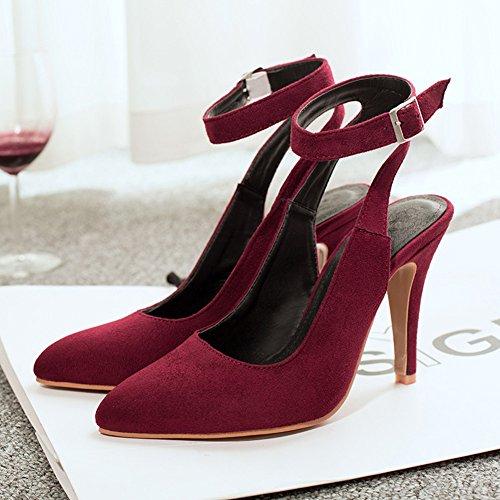YE Damen Spitze High Heels Slingback Pumps mit Pumps mit knöchelriemchen Geschlossen Schnalle 10cm Absatz Kleid Schuhe Rot