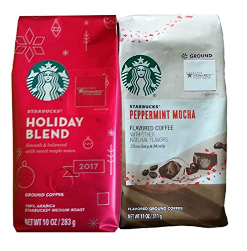Starbucks Peppermint Mocha and Holiday Blend Bundle (2 - During Town Christmas Small