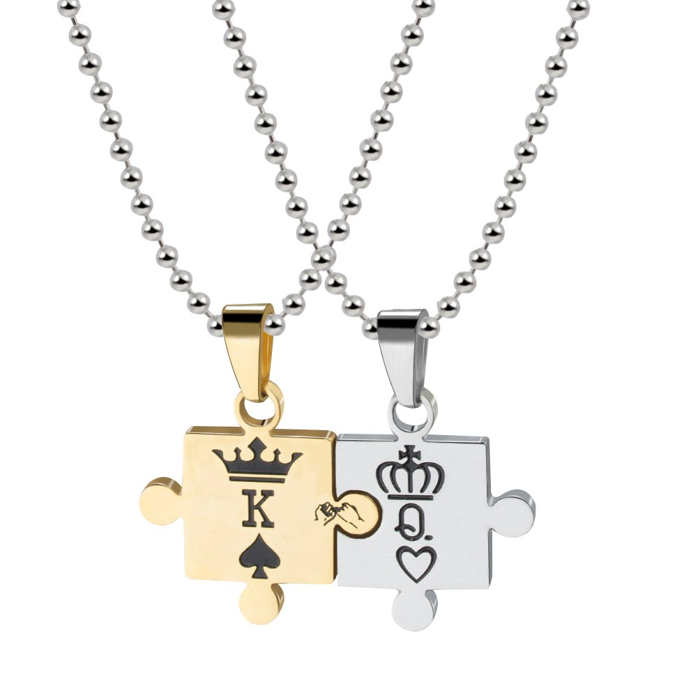 7715ce6bfa Couples Necklace for Women Men King & Queen Relationship K & Q Matching Necklaces  Puzzle Pendant | Amazon.com
