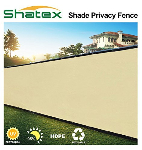 Shatex Pro Security & Privacy Windscreen,Tan, 4' x 50' with Grommets & Zip Ties for Quick Installation,Heavy Duty Shade Mesh Fence for Garden Yard, Construction Site, Deck, Balcony Pool by Shatex