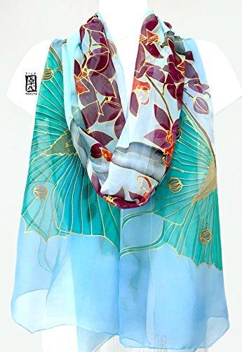 Luna Moth, Blue Silk Shawl Wrap with Purple Orchids, Hand Painted Silk Shawl, by Silk Scarves Takuyo