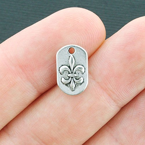 12 Fleur de Lis Charms Antique Silver Tone - SC4025 Jewelry Making Supply Pendant Bracelet DIY Crafting by Wholesale Charms ()