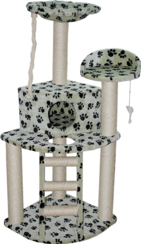 AlphaPurr The Purrl Cat Tower with Paw Print Design, My Pet Supplies
