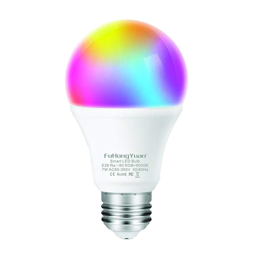 FUHONGYUAN WiFi Smart Light Bulb, A19 E26 RGBCW Color Changing, Dimmable Multicolored Lights, No Hub Required, Compatible with Amazon Alexa and Google Home (1 Pack)
