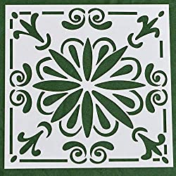 """AZDIY Stencils Set (4 Pack, 6""""X6"""")– Flower Print Stencils for Printing on Wood – Cutting Edge Stencils Paint – Laser Cut Painting Stencil – Ideal for Home Décor & DIY Projects – Premium Tile Template"""