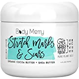 Stretch Marks & Scars Defense Cream- Daily Moisturizer w Organic Cocoa Butter + Shea + Plant Oils + Vitamins to Prevent, Reduce and Fade Away Old or New Scars - Best for Pregnancy, Men/Bodybuilders