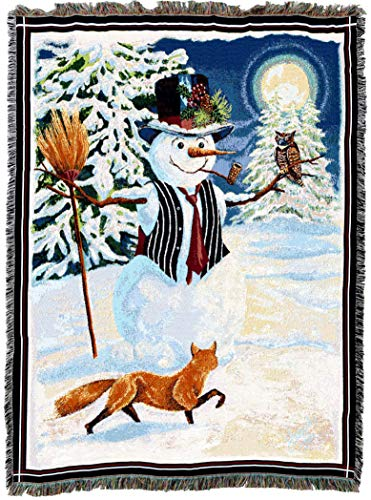(Pure Country Weavers | Twilight Frosty Snowman Woven Tapestry Throw Blanket with Fringe Cotton USA 72x54)
