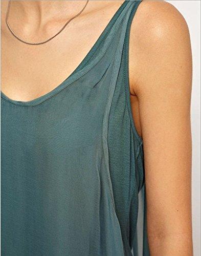 Smile YKK Débardeur Femme Loose Mousseline de Soie T-shirt Long Sans Manche Col Rond