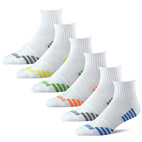 (BERING Men's Quarter Athletic Compression Socks, Size 7-12, White (6 Pack))