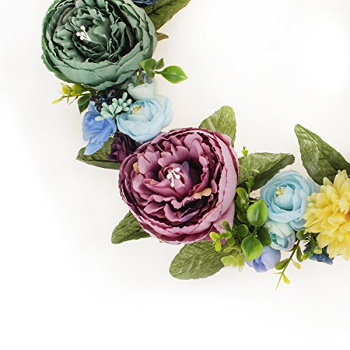 FAVOWREATH-2018-Vitality-Series-FAVO-W12-Handmade-14-inch-Green-and-Pink-Stamen-Peony-Fall-Grapevine-Wreath-for-Summer-Front-DoorWallFireplace-Wedding-Floral-Hanger-Artificial-Flowers-Home-Decor