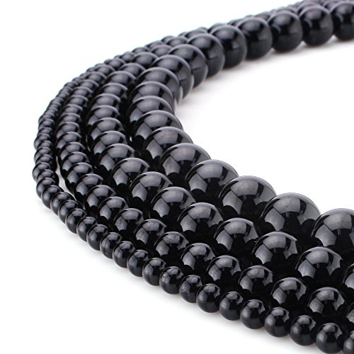 - RUBYCA Wholesale Natural Black Obsidian Gemstone Round Loose Beads Jewelry Making 1 Strand - 8mm