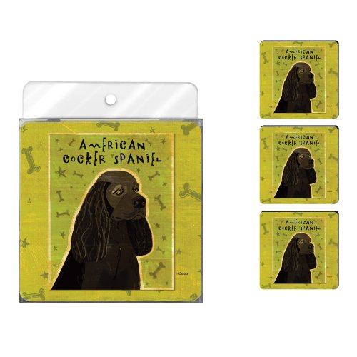 Tree-Free Greetings NC38058 John W. Golden 4-Pack Artful Coaster Set, Black American Cocker Spaniel Cocker Spaniel Dog Breed Kennel