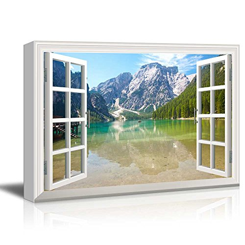 Window View Nature Landscape with Clear River and Forest in Mountains