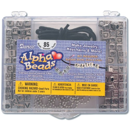Silver Kit Bead Darice - Alphabet Bead Kit with Antique Silver Alpha Beads (1 Kit Per Package)