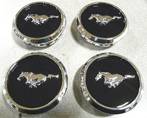 (OEM Factory Stock 2005 2006 2007 2008 2009 2010 2011 2012 2013 2014 Ford Mustang Black Ebony Chrome Wheel Rim Center Caps Pony Horse Logo Set 4)