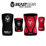 Beast Gear Beast Sleeves LARGE Premium 5mm Neoprene Compression Knee Sleeves for Support and Protection. Weightlifting, Crossfit, Powerlifting, Squats, Running and more.