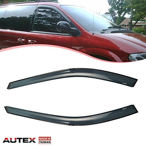 AUTEX 2Pcs Tape-on Window Visor Compatible with Dodge Caravan/Grand Caravan/Chrysler Town & Country 1996-2007 Compatible with Chrysler Grand Voyager 2000 Side Wind Deflector, Made in Taiwan