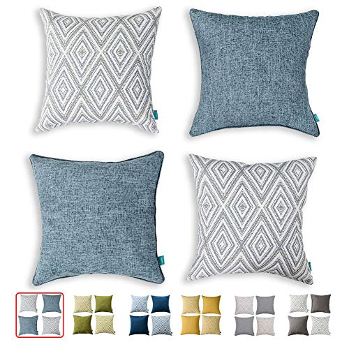 hpuk Decorative Pillow Covers Couch Pillow Covers Throw Pillow Covers for Couch, Sofa, Bed, 17x17 Inch Set of 4 Polyester Farmhouse Pillow Covers, Blue