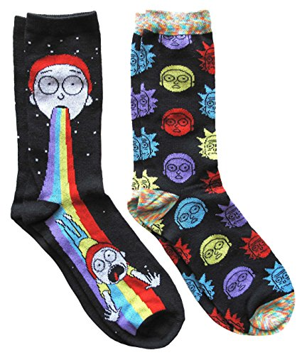 Rick-and-Morty-Mens-Crew-Socks-2-Pair-Pack-Shoe-Size-6-12