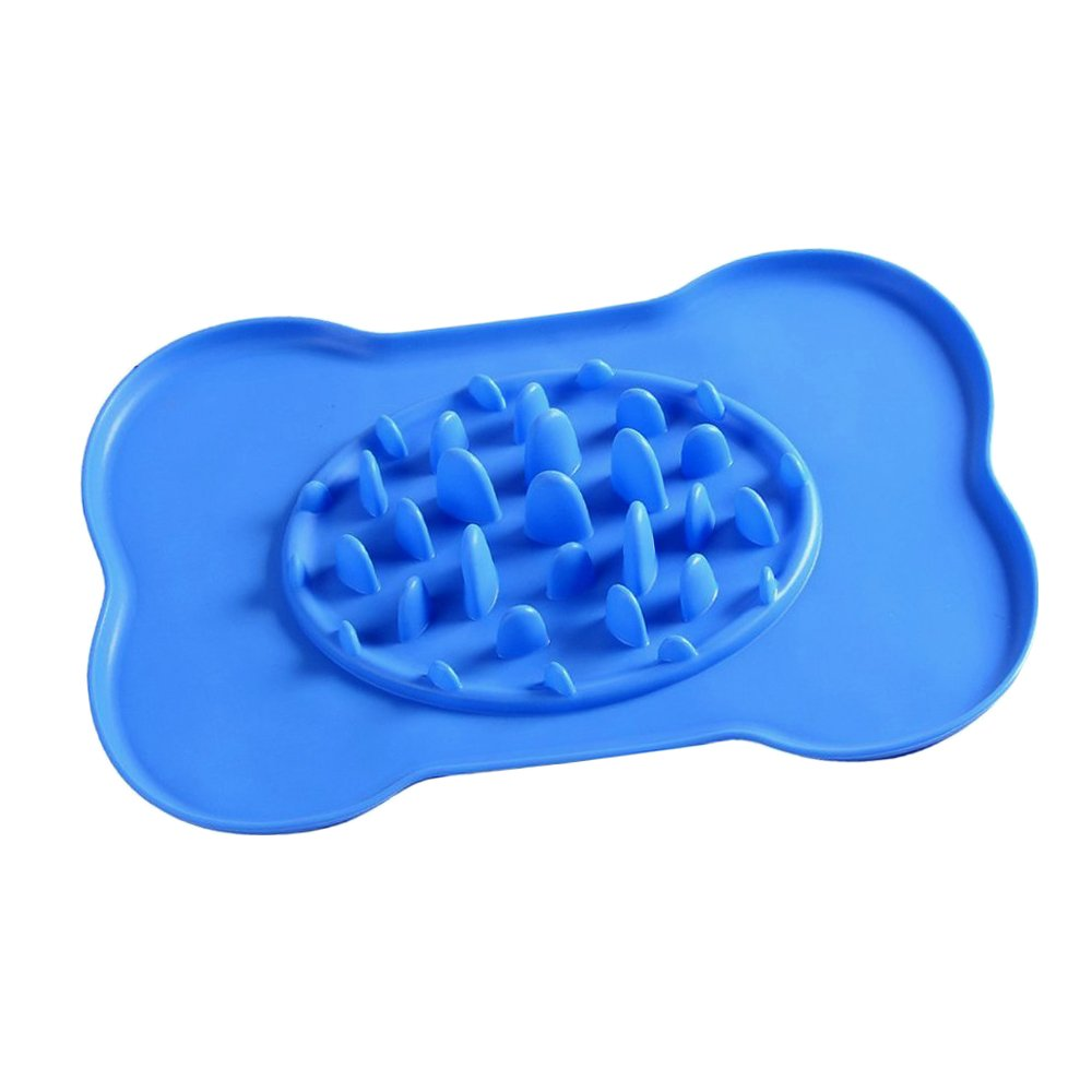 Slow Feed Dog Bowl, PESTORY Portable Bone Shape Anti-choke Prevent Obesity Pet Dog Bowl Non-skid Anti-overflow Silicone Mat, for Dogs and Cats, Pets